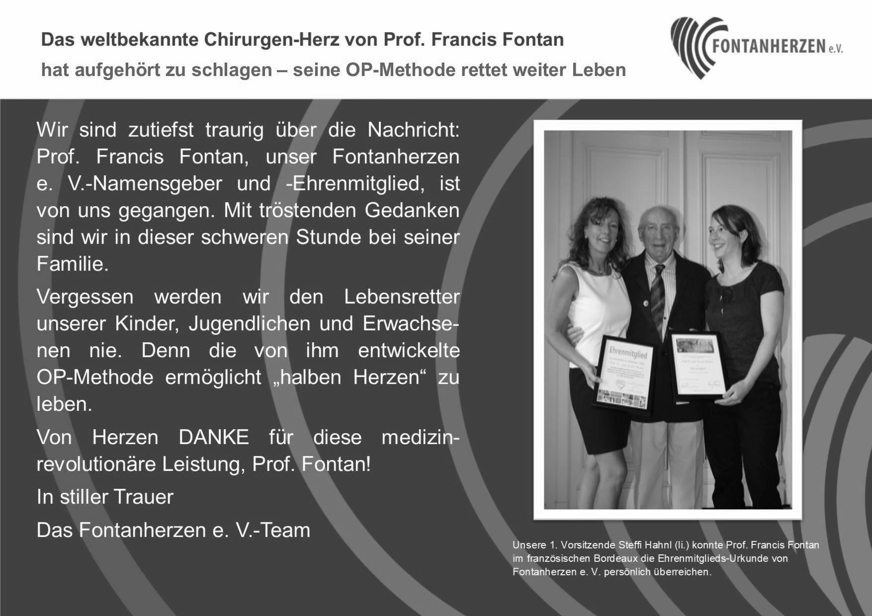 Wir nehmen Abschied von Prof. Francis Fontan.