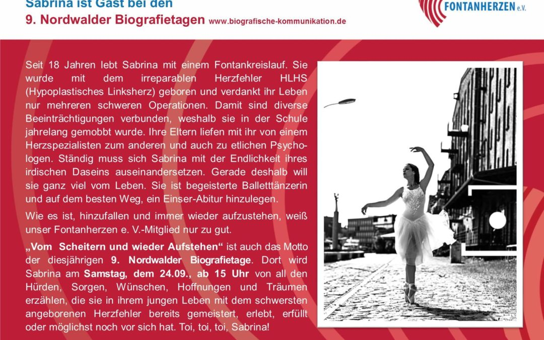 Sabrina ist Gast bei den 9. Nordwalder Biografietagen