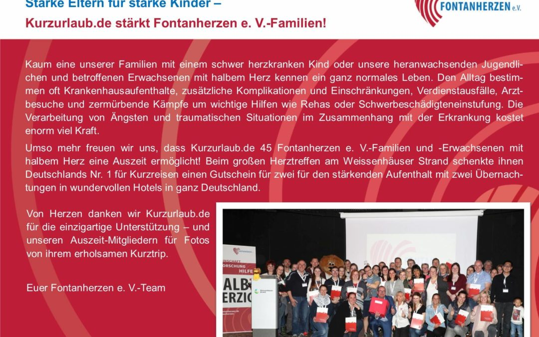 Kurzurlaub für Fontanherzen e.V.