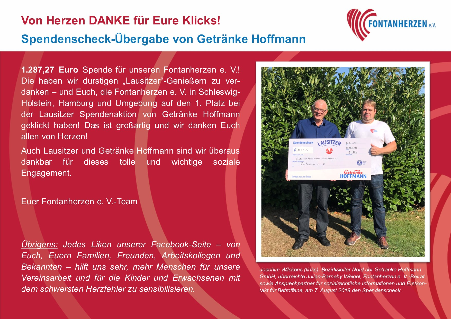 Spendenscheck-Übergabe von Getränke Hoffmann   Fontanherzen e. V.