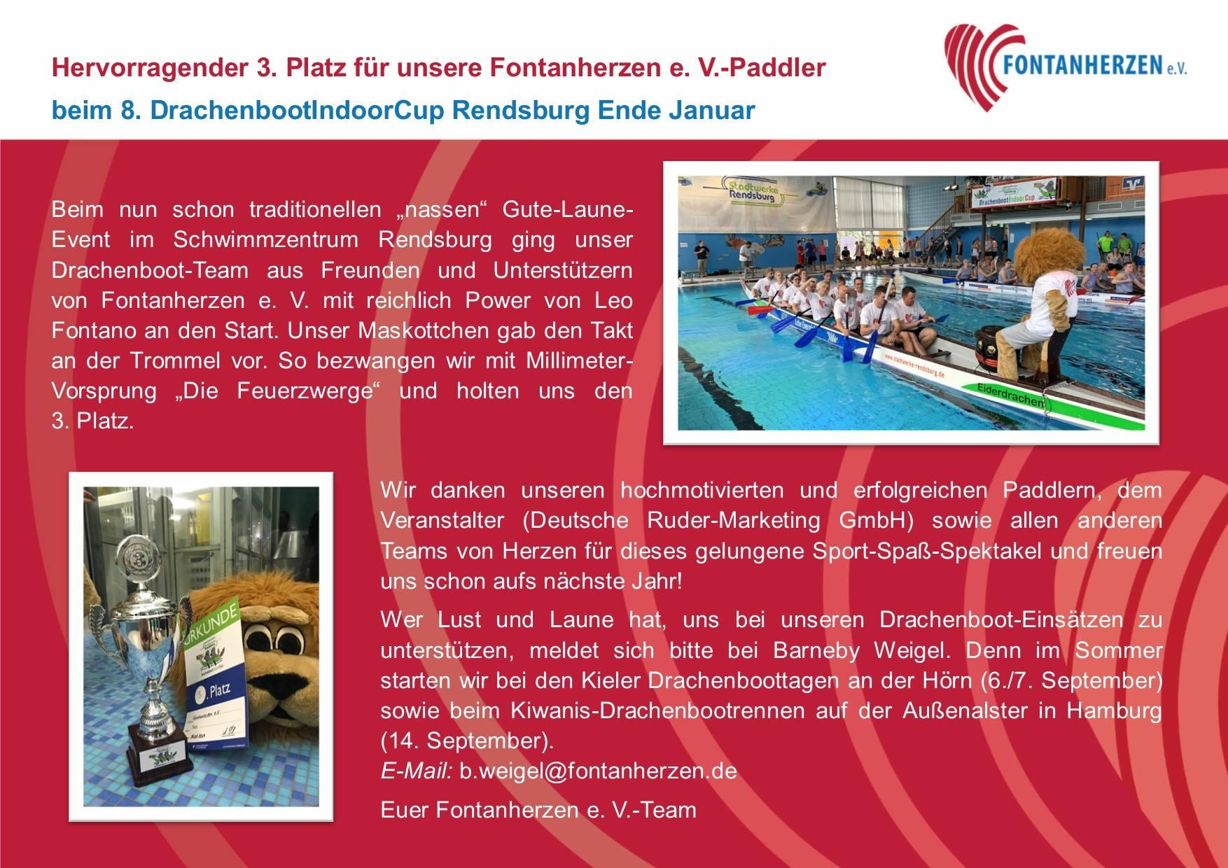 3. Platz beim 8. DrachenbootIndoorCup Rendsburg